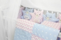 Комплект в кроватку ByTwinz Котики 4 пр. розово-голубой