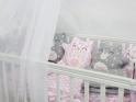 Комплект в кроватку с ByTwinz Котики 4 пр. серо-розовый